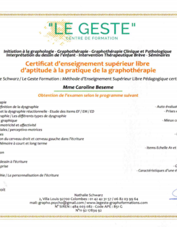 GRAPHOTHERAPEUTE – REEDUCATRICE DE L'ECRITURE – Aix-Les-Bains
