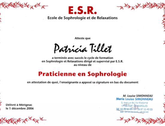 PATRICIA TILLET – SOPHROLOGUE et PSYCHOPRATICIENNE EN MAÏEUSTHÉSIE – Blanquefort
